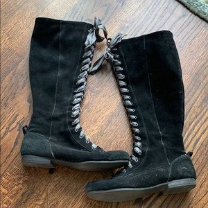 Nine West black tall boots laces 7.5